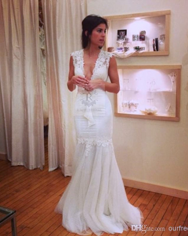 2016 vintage mermaid Wedding Dress bride casamento New Arrival vestido de noiva Handmade lace sexy v-neck gown free Shipping