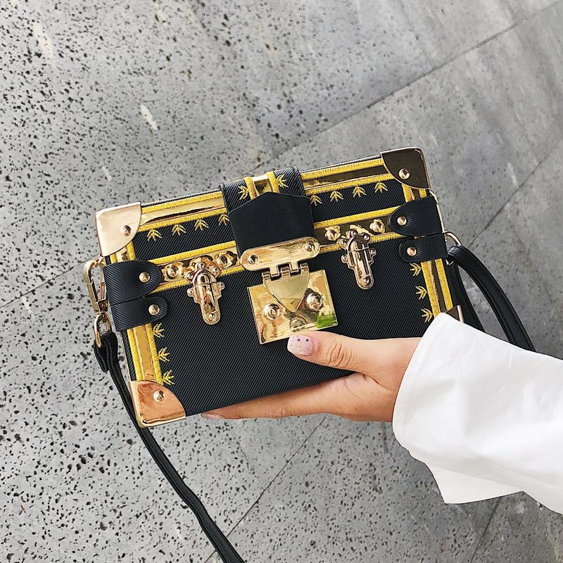 Sacamain Super Box Bag Embroidered Shoulder Bag Trend Lock-Style Cross-body Square Sling Bag Drop Shipping Party Purse