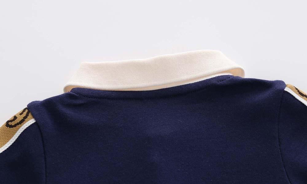 Новый весенне-осенний модный брендовый Стиль Одежда для новорожденных темно-синий вязаный хлопковый комбинезон с длинным рукавом для мальчиков и девочек от 0 до 24 месяцев 3