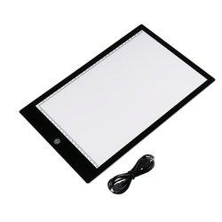 Acrílico 5mm Super fino A4 tamaño Flicker-Free LED dibujo copia seguimiento plantilla tabla tatuaje almohadilla translúcida caja de luz USB