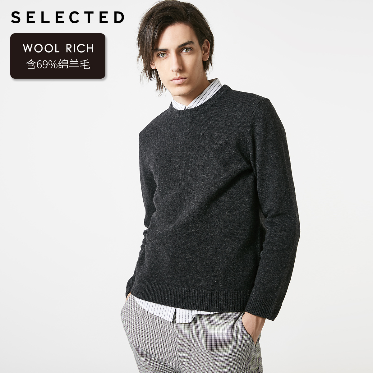 SELECTED Men's Winter Round Neckline Wool Pullover Sweater New Woolen Knitted Clothes S | 419125503