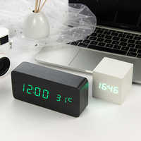 Led despertador de madeira relógio de mesa controle voz digital madeira eletrônico desktop usb/aaa alimentado relógios decoração da mesa