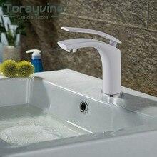 Torneira da bacia do banheiro branco mixer latão torneira para pia de banheiro deck montado quente & fria cachoeira torneiras único punho