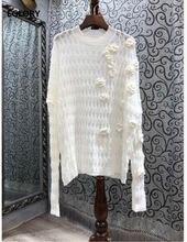 Женские вязаные свитера ручной работы Белые Повседневные пуловеры