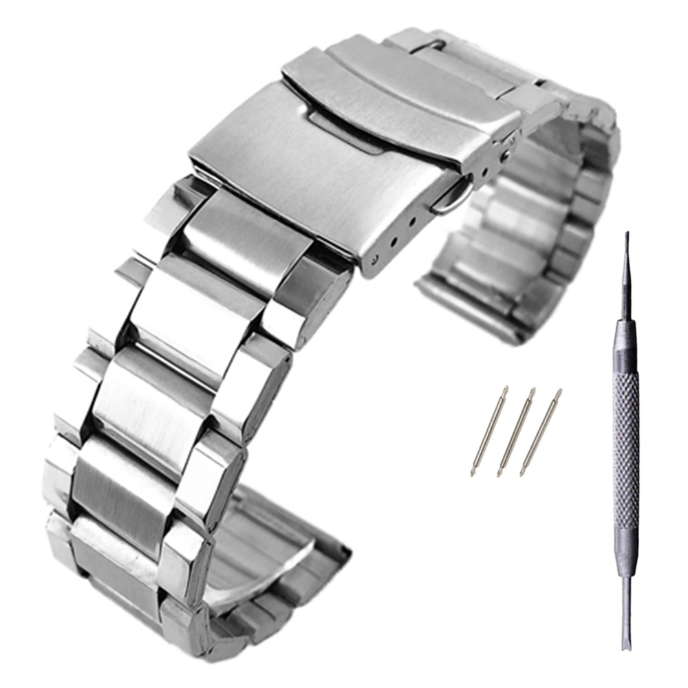Stainless Steel Watch Strap Wrist Bracelet Silver Color Metal Watchband With Folding Clasp For Men Women 20/22/24mm