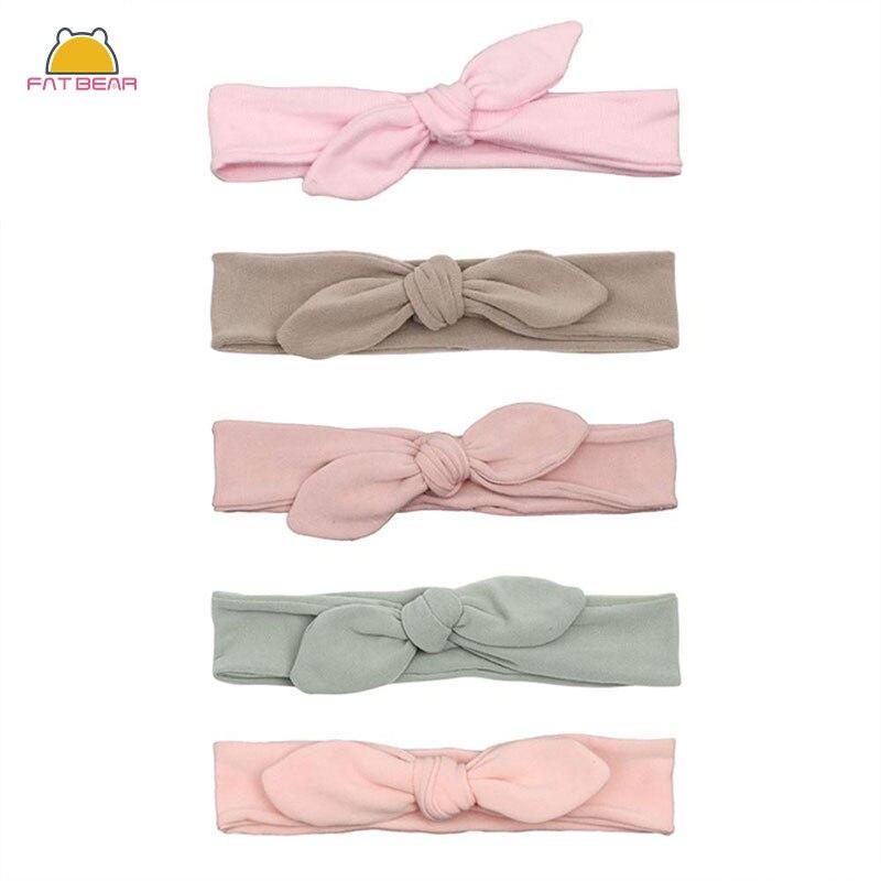 Cotton Rabbit Ear Baby Headbands For Girls Handmade Solid Elastic Soft Knot Bow Hair Band Headwear Newborn Accessories