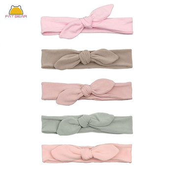 Cotton Rabbit Ear Baby Headbands For Girls Handmade Solid Elastic Soft Knot Bow Hair Band Headwear Newborn Accessories solid velvet bow baby headbands for girls handmade nylon elastic soft knot baby turban headband newborn infant hair accessories