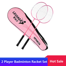 2 Player Badminton Racket Set Indoor Outdoor Badminton Racket Sports Students Children Practice Badminton Racquet with Cover Bag