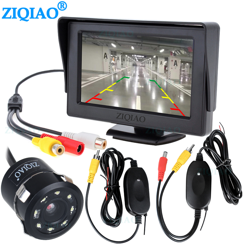 4.3 Inch Vehicle LCD Monitor Wireless Rear View Camera Video Transmitter Receiver Kit Reverse Camera For Car Rearview Monitor