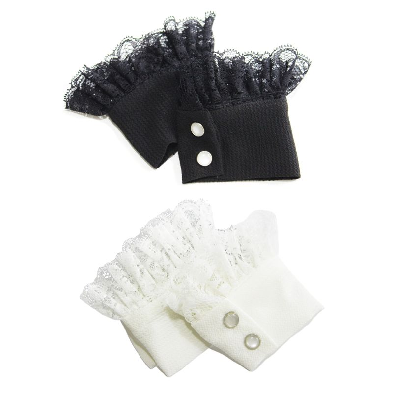 1Pair Women Sweater Decor Chiffon Fake Sleeves Floral Lace Pleated False Cuffs 449F
