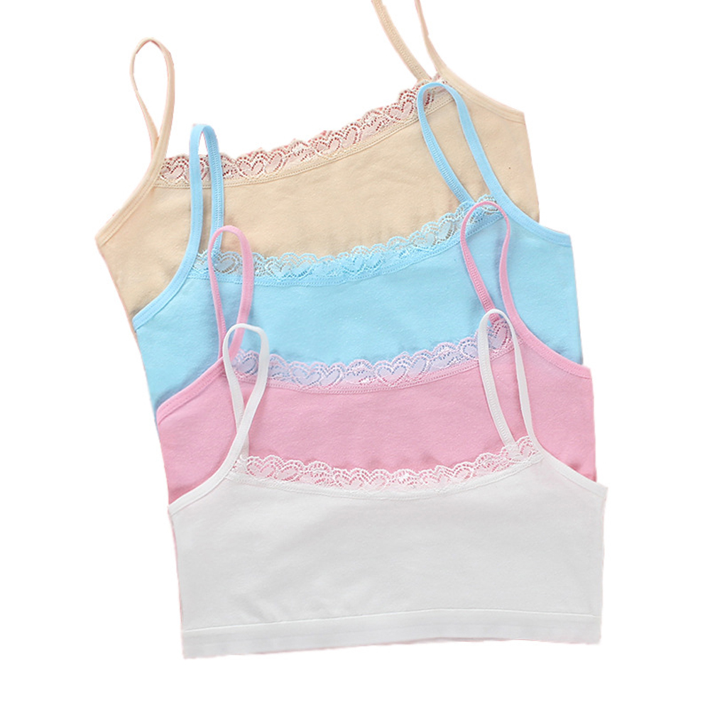 Young Girl Cotton Bra Puberty Teenage Soft Lace Training Bra Wireless Breathable Sling Vest Wrapped Bras Suit For 8-15 Year Girl