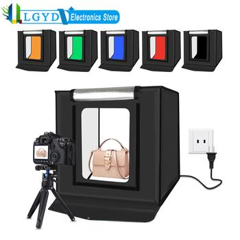 PULUZ 40cm możliwość przyciemniania oświetlenia fotograficznego pudło studyjne z 6 kolorami tło studyjne zestaw do fotografowania pudełko w kształcie namiotu akcesoria fotograficzne tanie i dobre opinie CN (pochodzenie) 40cm x 40cm x 40cm