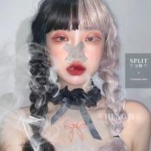 Предпродажной Uwowo длинные вьющиеся черные Таро порошок Лолита косплей парики с челкой жаропрочных синтетические волосы аниме парики партии