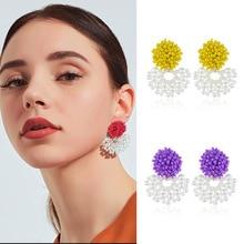 New Korean Resin Beaded Statement Earring Women Big Flower Long Drop Pearl India Style Earrings Party Jewelry
