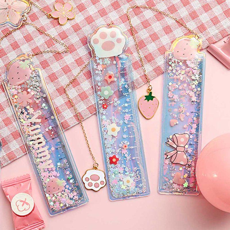 Creative Cartoon Bookmark Drawing Ruler Cute Girl Cherry Flower Quicksand Plastic Ruler Measuring Straight Ruler Gift Stationery