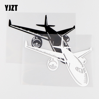 YJZT 15.5X11.5CM Aircraft Vinyl Decal Aviation Airport Creative Car Stickers Black / Silver 10A-0252 image