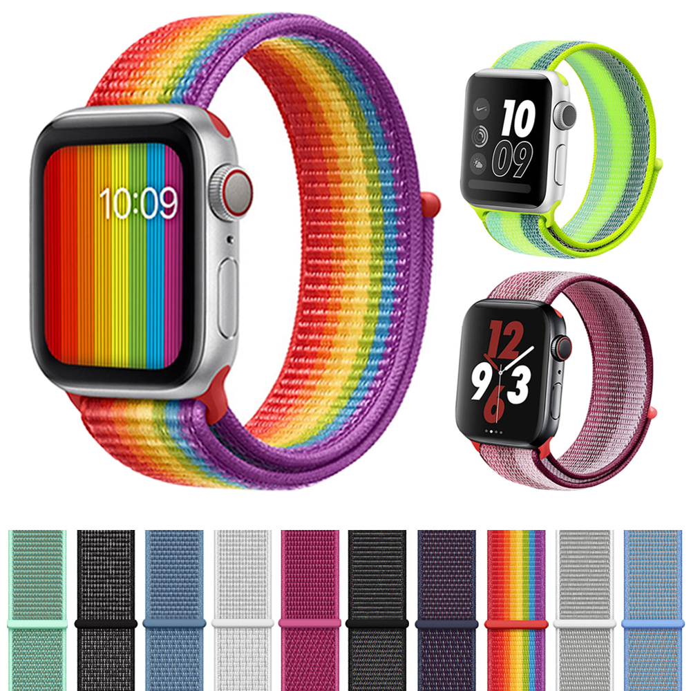Light Reflective bracelet Sport Loop band for Apple Watch 44mm 42mm 40mm 38mm Woven Nylon Watch Strap For iwatch series 4/3/2/1 цвета apple watch 4