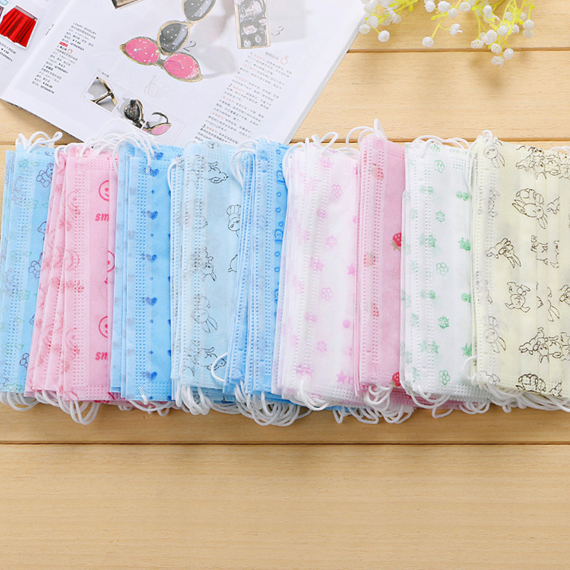 10Pcs Mouth-Muffle Respirator Disposable Dustproof Mouth Mask Cartoon Floral Printed 3 Layers Non-Woven Surgical Medical Earloop