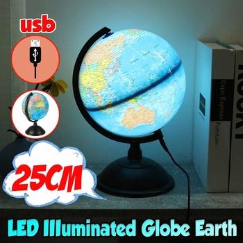 25CM globus Map obracana podkładka + LED Light World globus Map szkoła geografia edukacyjne dla dzieci odkrywanie Home Decor tanie i dobre opinie KICUTE CN (pochodzenie) Globe