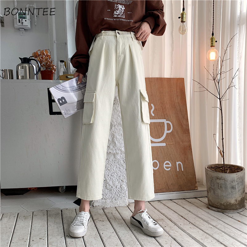 Jeans Women Straight Basic Simple Boyfriend High Waist Vintage Pockets All-match Harajuku Womens Trousers Leisure Loose Trendy