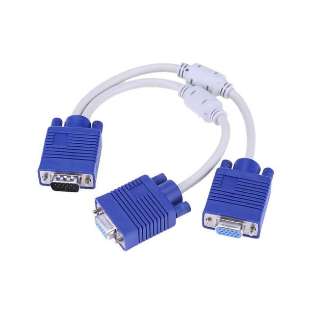 Pozłacane 1080P VGA kabel męski na żeński Adapter podwójne magnetyczne pierścienie VGA żeński Monitor Y kabel splittera konwerter