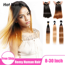 Bundles-Extension Human-Hair Ombre Weft Hot-Wave Remy Black Straight Brazilian for Women