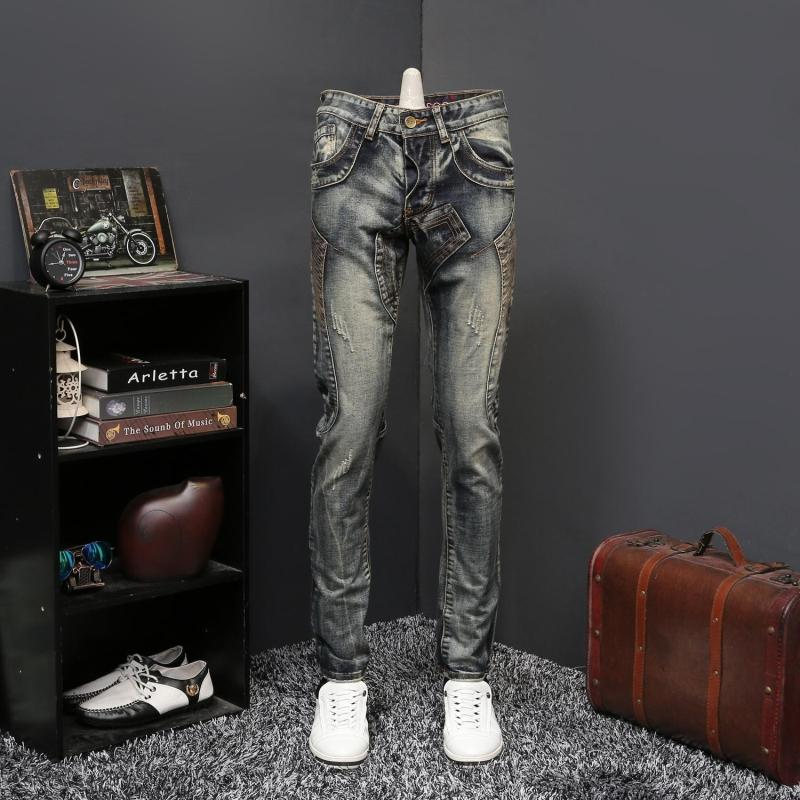 Denim Jeans Vintage Jeans Men Ripped Destroyed Denim Trouser Men Slim Fit Zipper Jeans Hombre Pleasting Zipper Skinny Jeans Men