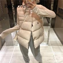 Rubilove Casual Solid Double Breasted Cotton Vest coat Women Windproof Sleeveless Waistcoat Warm Jackets vest female