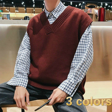 PADEGAO Men's Plain Pijo Style Vest Sweater Street Wear for Daily Wear Sleeveless Clothing Sweaters with Vintage Chic PDG1819