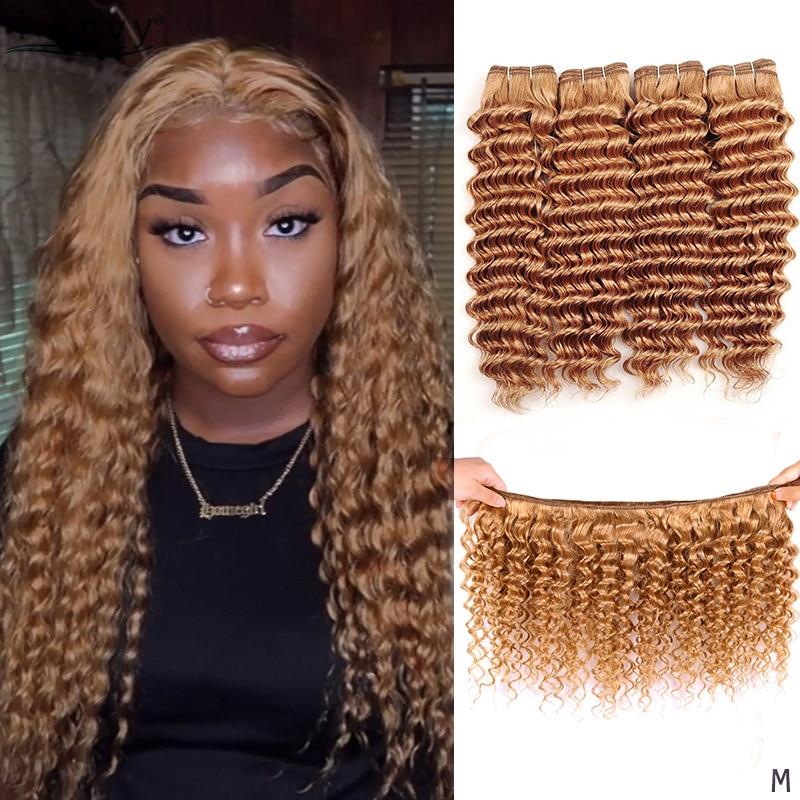 I Envy #27 Honey Blonde Bundles Brazilian Deep Wave Pre Colored Human Hair Bundles 1 3 4 Pcs 10-26 Inches Bundle Deals Non-remy