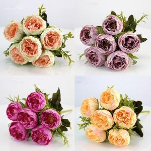 Hot sale 1 bunch of peony fake flower 6 big head white pink silk peony bouquet fake flower wedding home decoration peony rose fl