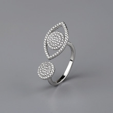 CMajor S925 Sterling Silver Jewelry Korean Fashion Simple Temperament Creative Demon Eye Personality Opening 7ACZ Ring for Women