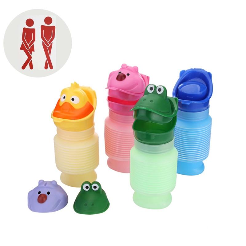 Portable Travel Toilet Cartoon Bottle Baby Outdoor Toilet Potty Training Pot Kids Urinal Adult Car Toilet Flexible Easy Clean