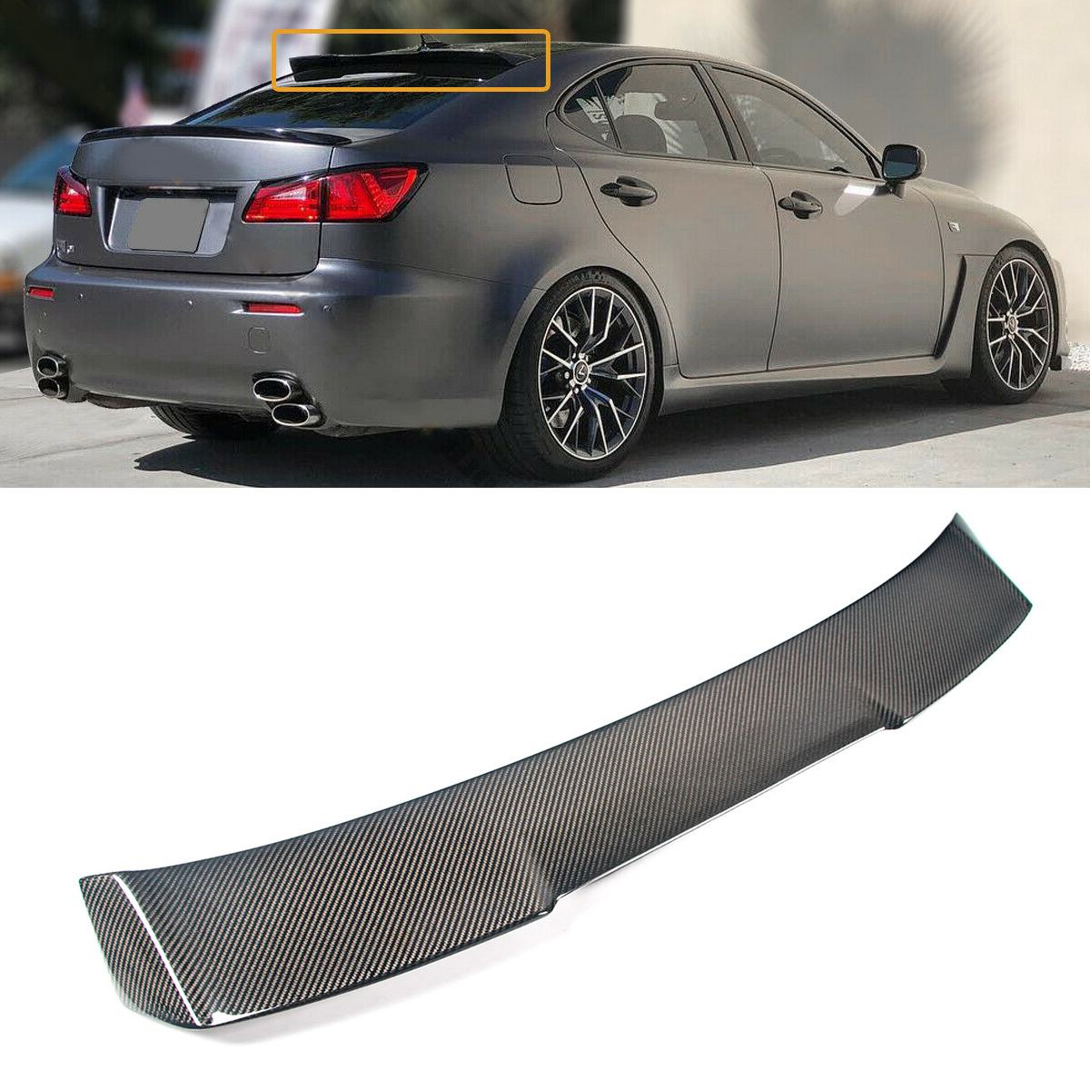 Full Carbon Fiber Rear Roof Lip Spoiler Tail Trunk Boot Wing For <font><b>LEXUS</b></font> IS250 IS350 ISF 2006 2007 2008 <font><b>2009</b></font> 2010 2011 2012 2013 image