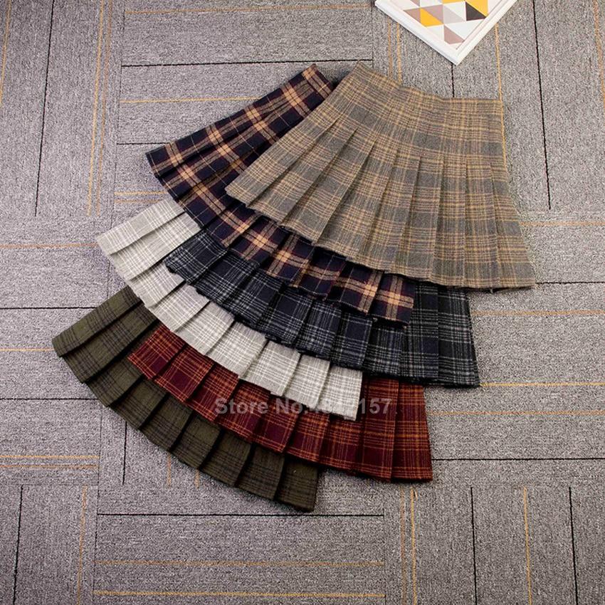 Student Girls School Uniform Skirt With Safety Pants Elastic Plaid Pleated Skirt Winter Wool High Waist Women JK Suit Buttoms