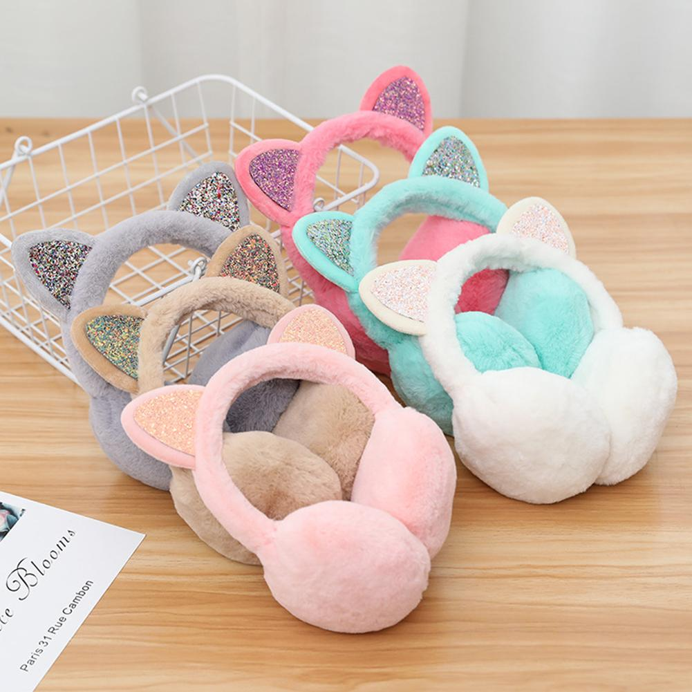 Lovely 2019 Fashion Women Ears Sequins Plush Earmuffs Earflap Earcap Winter Ear Warmer Earmuffs Headband Newest Christmas Gift