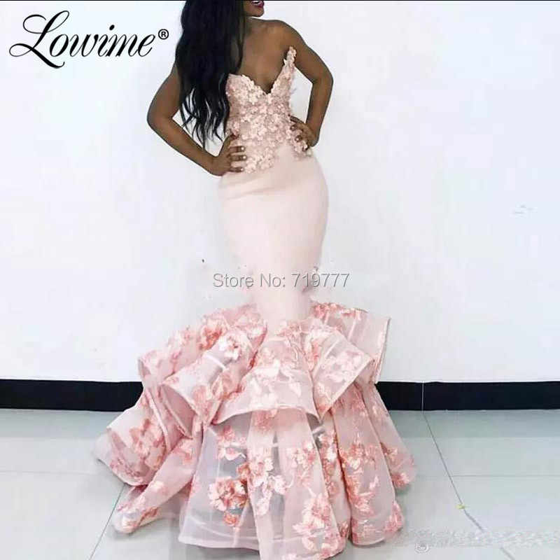 Robe De Soiree Pink Mermaid Evening Dresses 2020 African Prom Dress Arabic Middle East Women Wedding Party Gowns Vestido