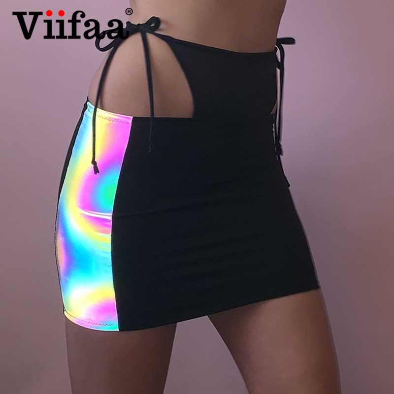 Viifaa Contrast Reflective Tie Side Cutout Bodycon Sexy Mini Skirt Women 2019 Night Out Party Clubwear Pencil Skirts