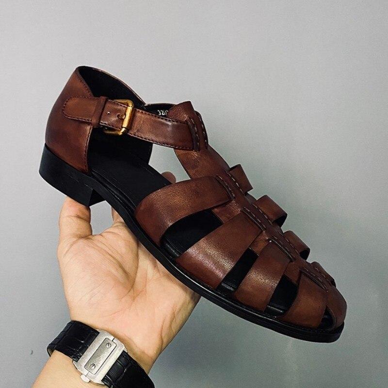 feitos à mão couro genuíno plana sandálias