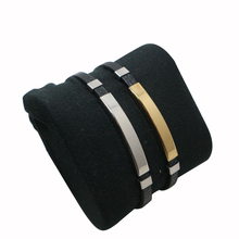 Geometrically Stainless Steel Leather Bracelet Black/Gold/Silver Color Accessories Jewelry for Men