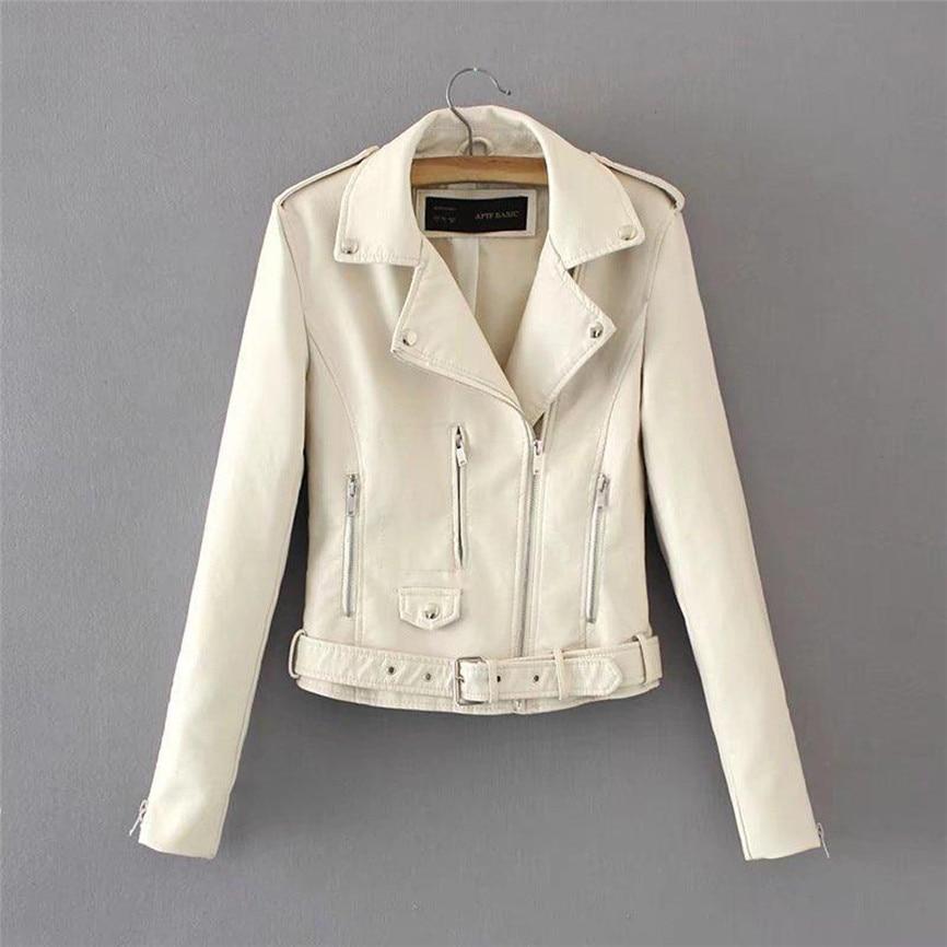 Women Ladies Lapel Tops Motor Zip Biker Jacket Short Punk Cropped Coat