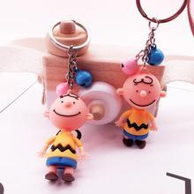 2019 New Cute Cartoon Charlie Brown Key chain For Girls Car Or Bag Keyring Anime Key chain Gifts Or Men Key Chain Women Keychain цена и фото