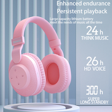 Auriculares con bluetooth 525 para chicas y mujeres, nuevo auricular Hifi con tarjeta TF, FM, color rosa, 2020