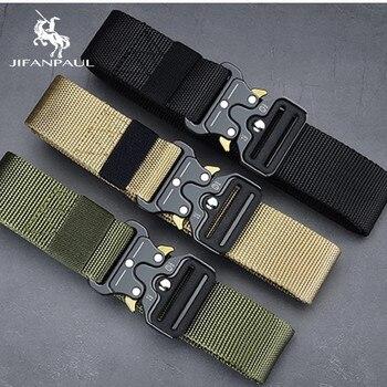 JIFANPAUL belt men outdoor hunting metal tactical belt multi-function alloy buckle high quality Marine Corps canvas belt for men
