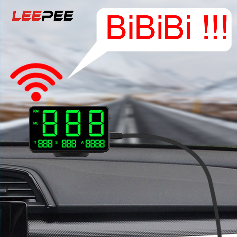 LEEPEE Car Head Up Display Digital Car GPS Speedometer Speed Display Big Fonts LED Display
