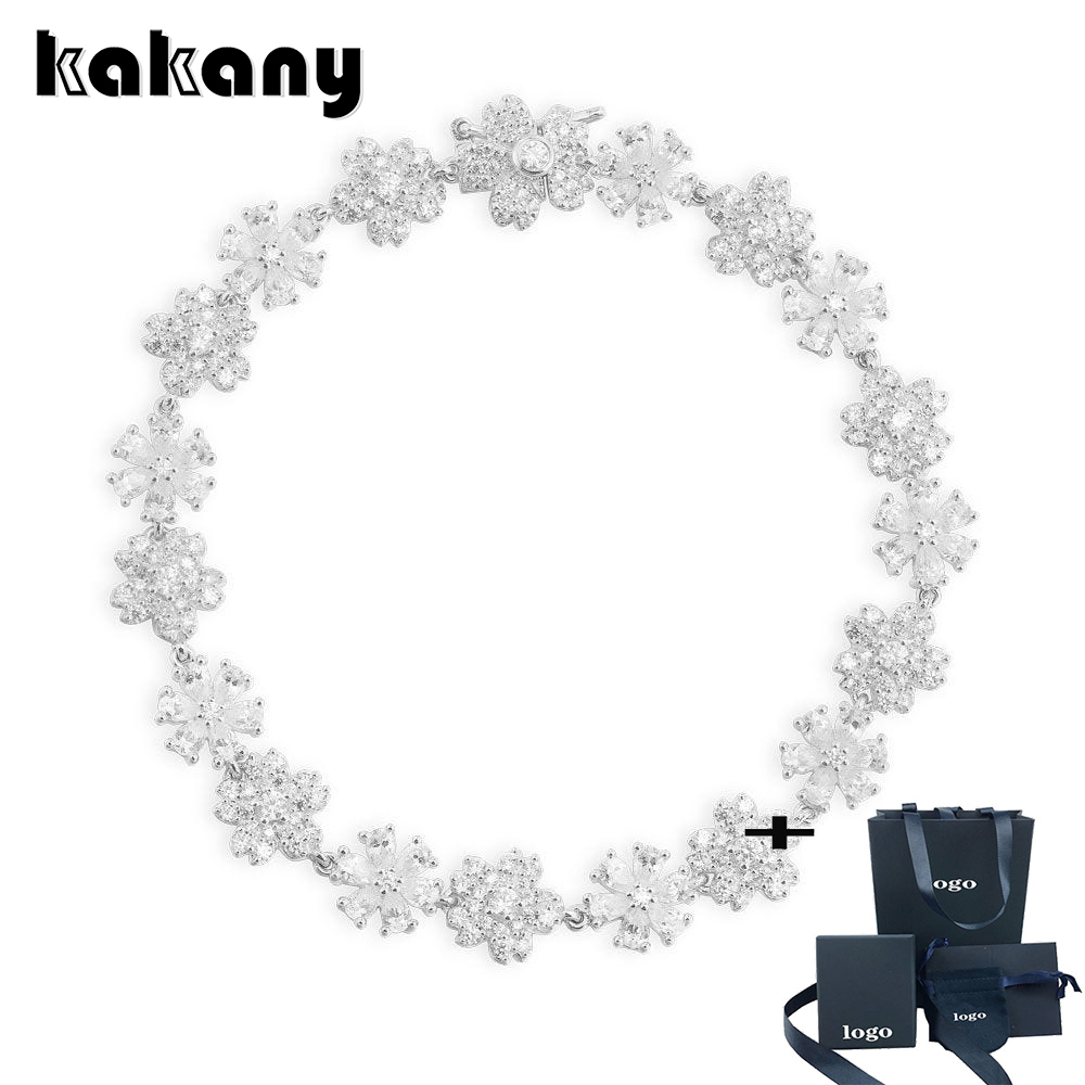 KAKANY Fashion High Quality Monaco Five Leaf Flower Strap Bracelet Snowflake Necklace Lady Wedding Jewelry Touching Dream