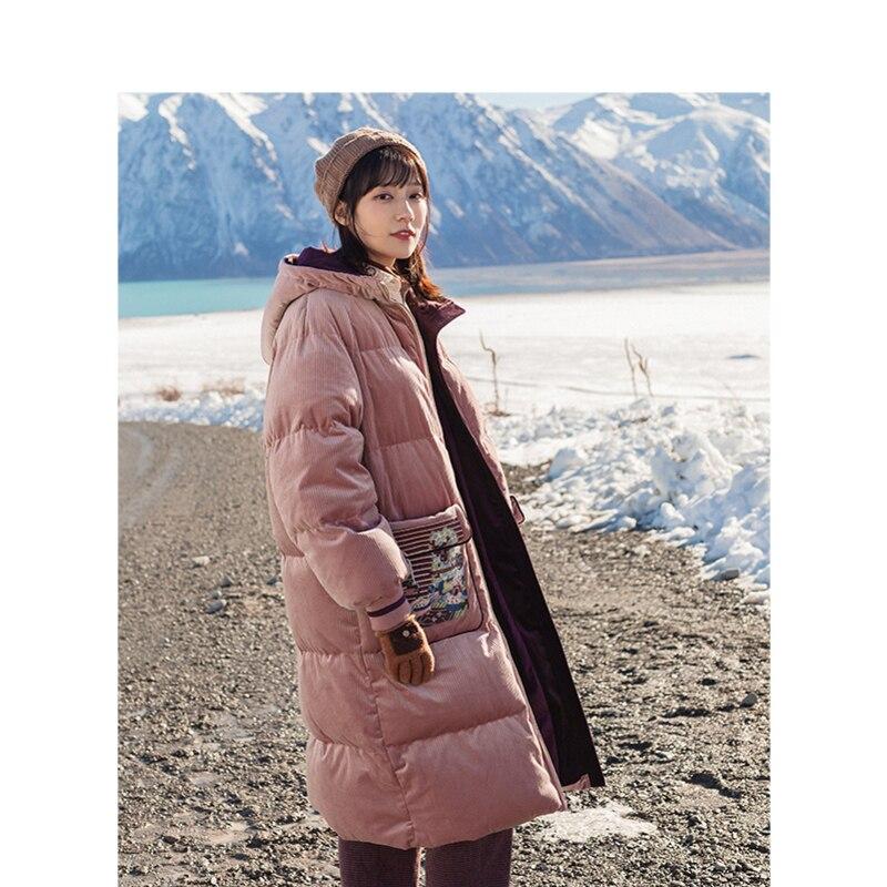 INMAN Winter Literary Style Embroidery Double Zipper Women Long Down Coat