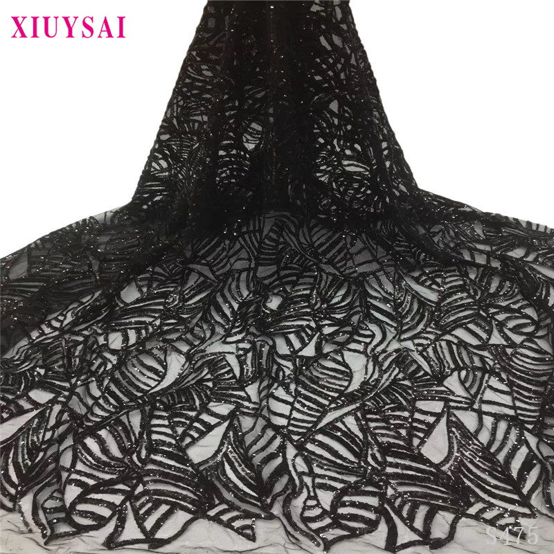Black African sequins Lace Fabric 2020 High Quality Lace French Net Embroidery Tulle Lace Fabrics For Nigerian Party Dress SL475