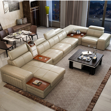 Sofa Puff Couch Canape Living-Room Real-Genuine-Leather Heating USB And Fridge Asiento