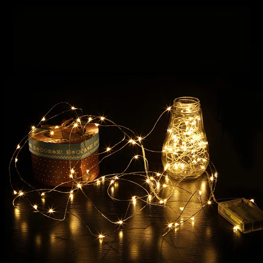 Colorful LED String Lights Copper Wire Fairytale Warm White Garland Family Christmas Wedding Party Decoration USB Power Battery